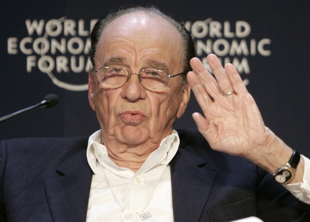 Media tycoon Rupert Murdoch addresses a session of the World Economic Forum in Davos